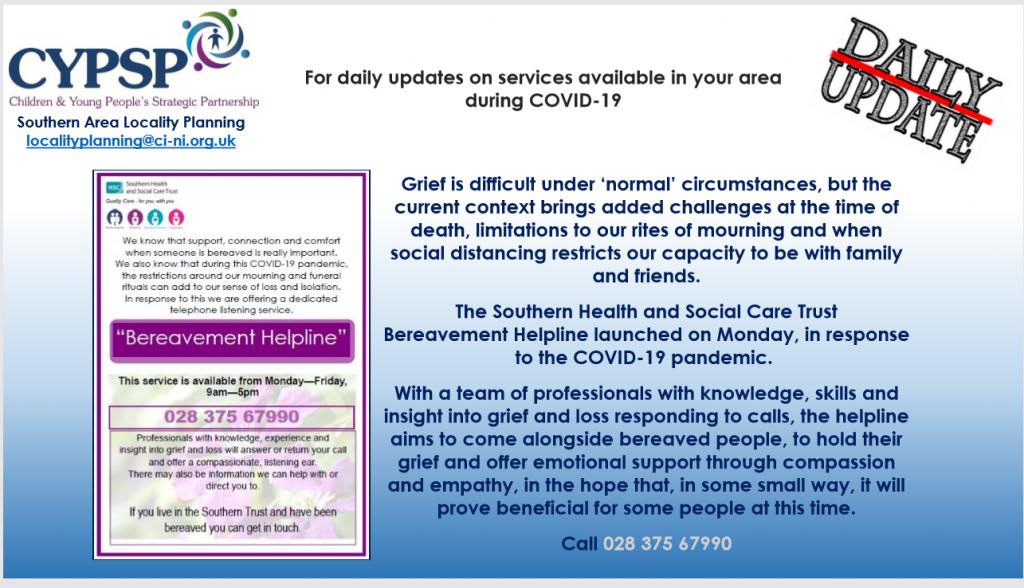 New SHSCT Bereavement Helpline